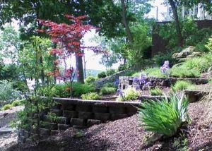 Hardscaping with terraces and retaining walls