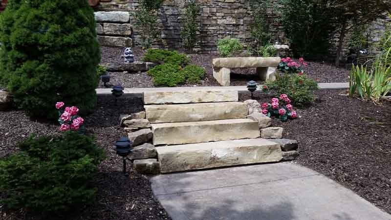 Stone steps hardscaping & landscaping in Laurie, MO