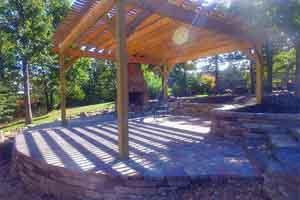 Pergola built on raised patio