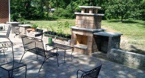 Outdoor Fireplace in a backyard at Lake of the Ozarks