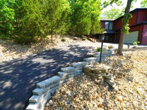 This landscaped driveway provides a nice upgrade for the home.