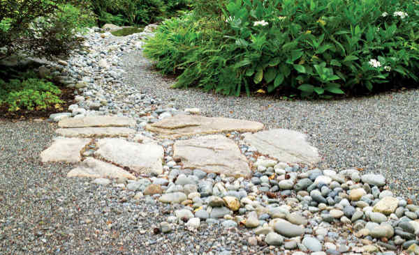 Natural stone pathways help break up slopes and hills in your landscape.