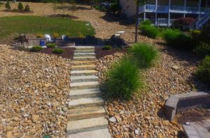 Stone steps make natural transitions for steep yards with hills.