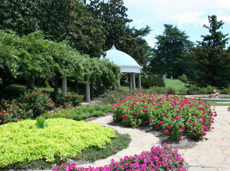 Beautiful landscaping with natural stone and flowers at Lake of the Ozarks