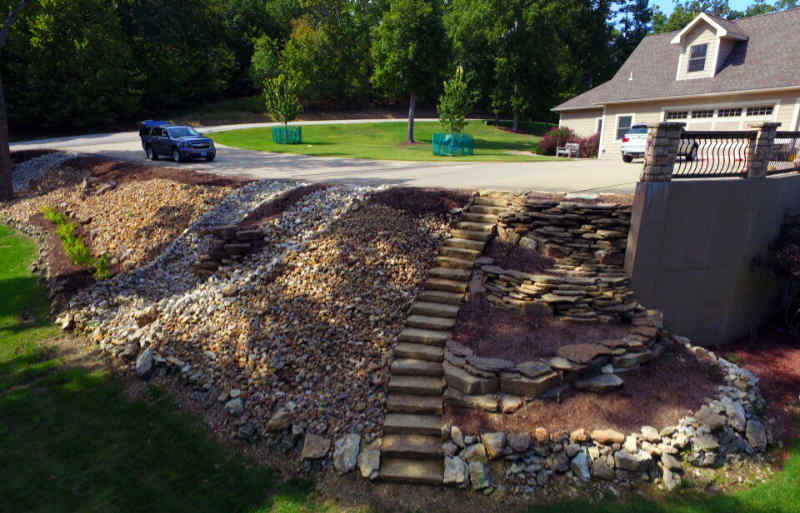 Yard with a large hill being protected by terraced retaining walls and decorative gravel for better drainage.