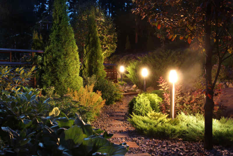 Illuminated garden path and patio lighting