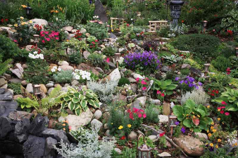 A beautiful perennial hillside landscape garden planted on a difficult slope. Extreme gardening at it's best!