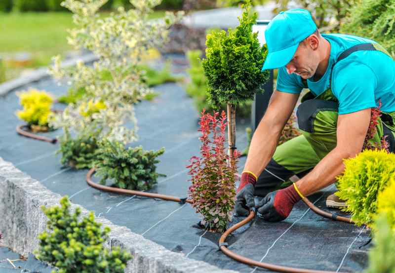 Professional landscape company worker watering plants with irrigation system in landscaped garden.